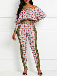 Ericdress Falbala Plaid Color Block Skinny Shirt And Ankle Length Pant Two Piece Sets thumbnail