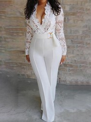 Ericdress Plain White Patchwork Belt Skinny Sexy Jumpsuit thumbnail