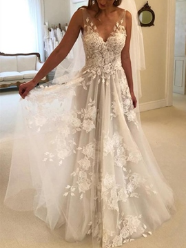 Ericdress Appliques V-Neck Beach Wedding Dress
