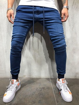 Ericdress Plain Low Waist Mens Lace-Up Jeans