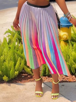 Ericdress Color Block Pleated Maxi Skirt