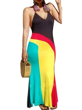 Ericdress V-Neck Patchwork Sleeveless Color Block Bodycon Dress