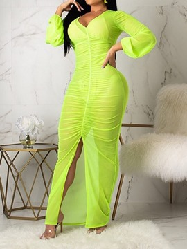 Ericdress Bodycon See-Through Pleated Floor-Length Lantern Sleeve Dress