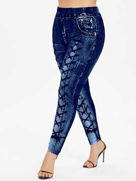 Ericdress Plus Size Skinny Lace-Up Casual Pants
