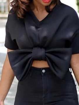 Ericdress V-Neck Bowknot Fashion Short Blouse