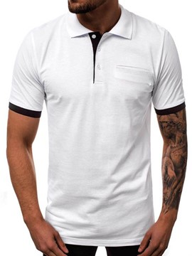 ericdress casual polo neck button polo shirt