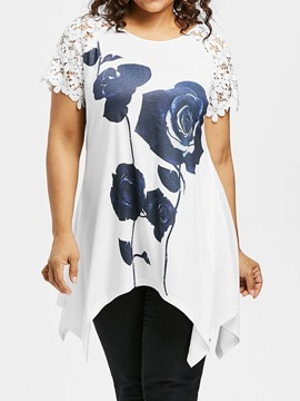 Ericdress Round Neck Floral Plus Size Slim T-Shirt