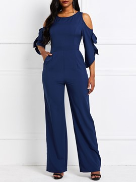 Ericdress Plain Patchwork Royal Blue Slim Dressy Jumpsuit