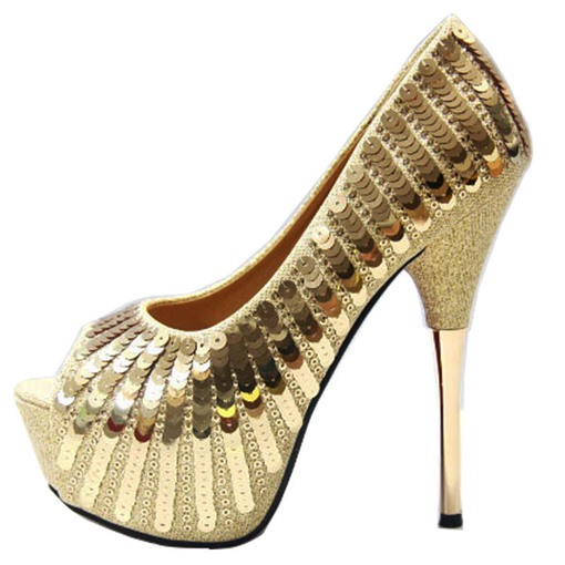 Ericdress Sequin Peep Toe Stiletto Heel Women's Pumps