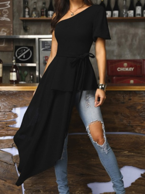 Ericdress Oblique Collar Pleated Lace-Up Long Blouse