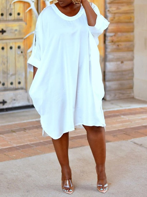 Ericdress Casual Round Neck Knee-Length Plain Pullover Dress