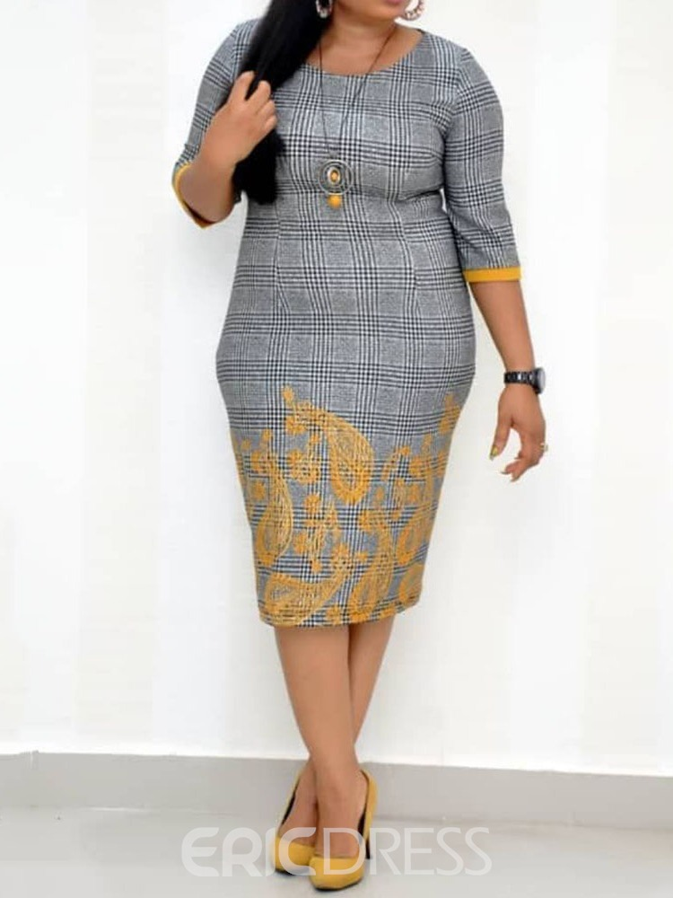 Ericdress Plus Size Round Neck Mid-Calf Pullover African Ethnic Style Dress