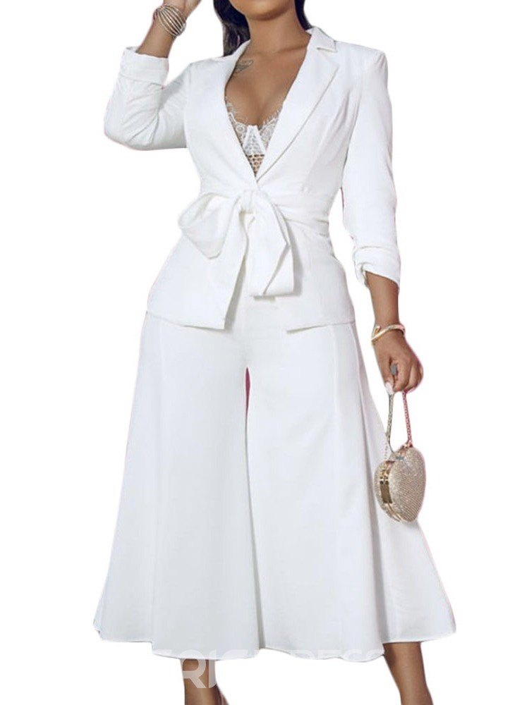 Ericdress Plain Wide Legs Lace-Up Formal Coat And Pants Two Piece Sets