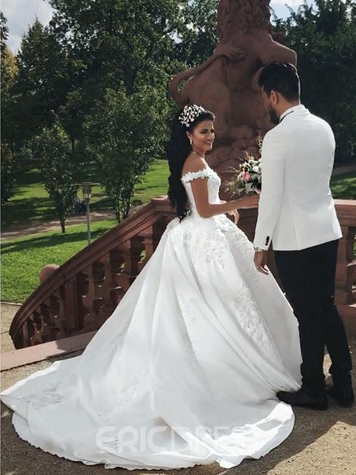 Ericdress Off-The-Shoulder Beading Appliques Ball Gown Wedding Dress