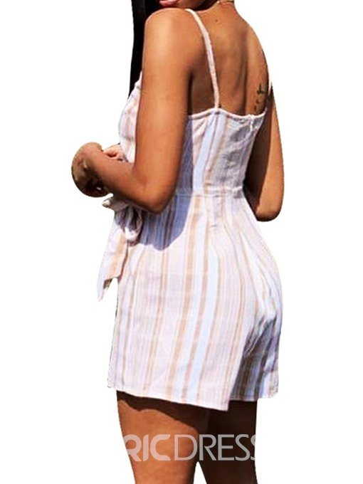 Ericdress Lace-Up Stripe Slim Strap Romper