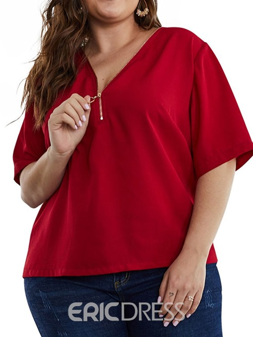 Ericdress V-Neck Zipper Plus Size Short Sleeve Blouse