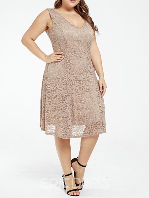 Ericdress V-Neck Hollow Mid-Calf Lace Plus Size Dress