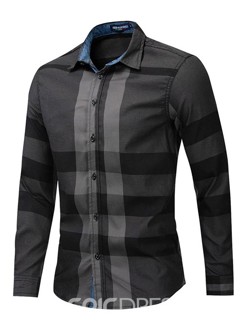 Ericdress Lapel Button Slim Mens Single-Breasted Shirt