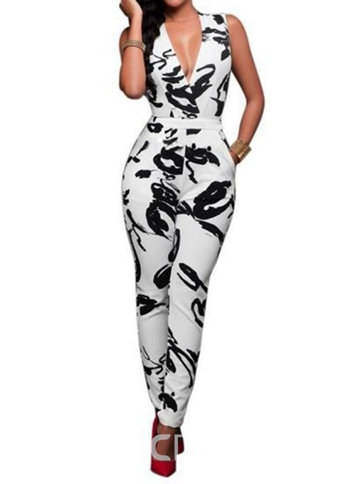 Ericdress Print Color Block Skinny Sexy Jumpsuit
