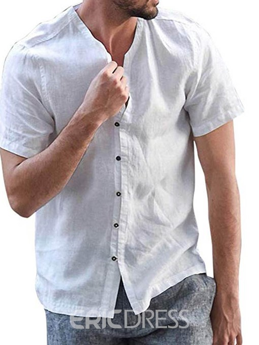 Ericdress Plain Button Casual Loose Mens Single-Breasted Shirt