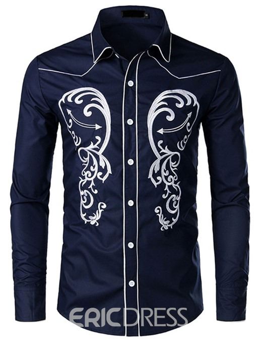 Ericdress African Fashion Dashiki Lapel Mens Single-Breasted Shirt