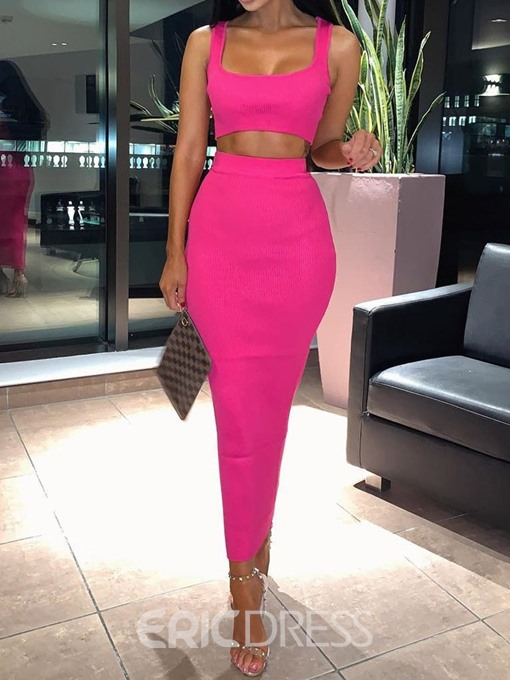 Ericdress Plain Bodycon Sexy Vest And Skirt Two Piece Sets