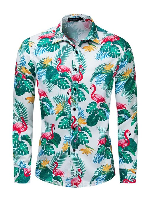 Ericdress Floral Lapel Print Slim Mens Shirt