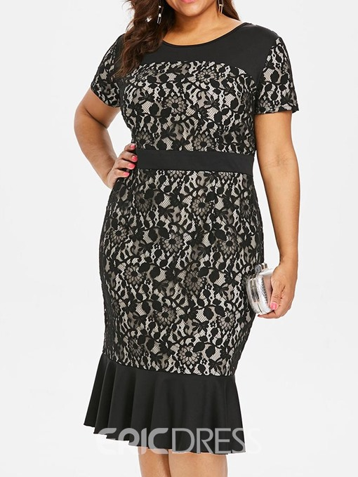 Ericdress Plus Size Lace Mid-Calf Short Sleeve Hollow Elegant Dress