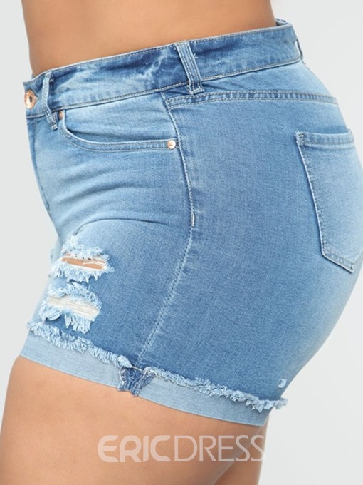 Ericdress Plus Size Denim Hole Plain Zipper Skinny Shorts
