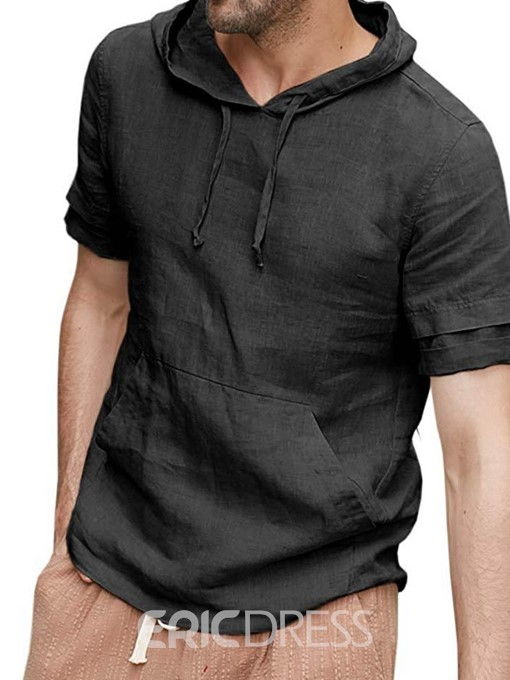 Ericdress Pocket Plain Hooded Loose Mens T-shirt