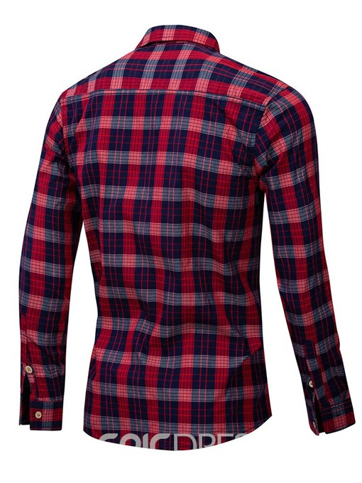 Ericdress Lapel Plaid Mens Single-Breasted Shirt
