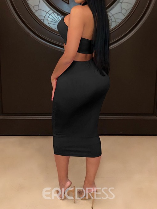Ericdress Chain Lace-Up Plain Sexy Bodycon Vest And Skirt Two Piece Sets