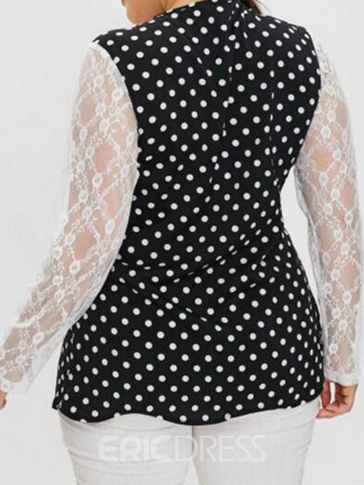 Ericdress Patchwork Lace Polka Dots Plus Size Blouse