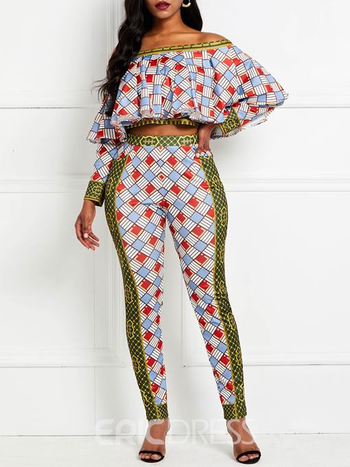 Ericdress Falbala Plaid Color Block Skinny Shirt And Ankle Length Pant Two Piece Sets