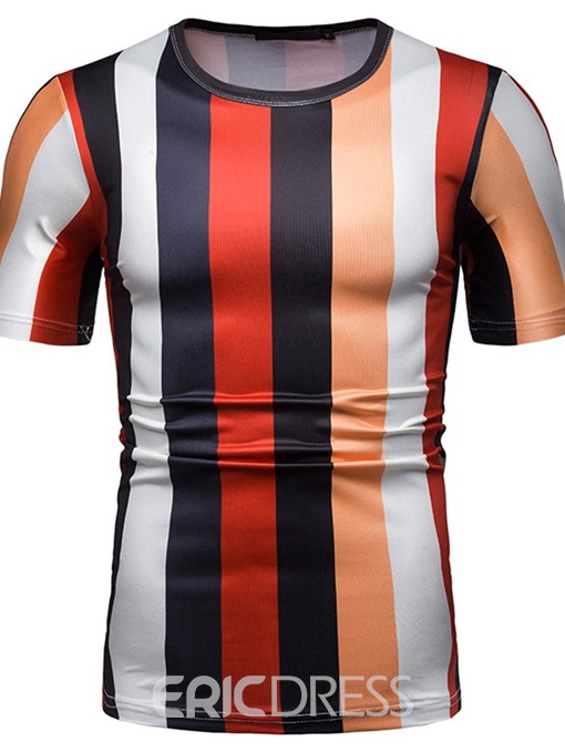 Ericdress Round Neck Print Stripe Mens Slim T-shirt