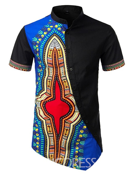 Ericdress African Fashion Dashiki Color Block Print Slim Mens Shirt
