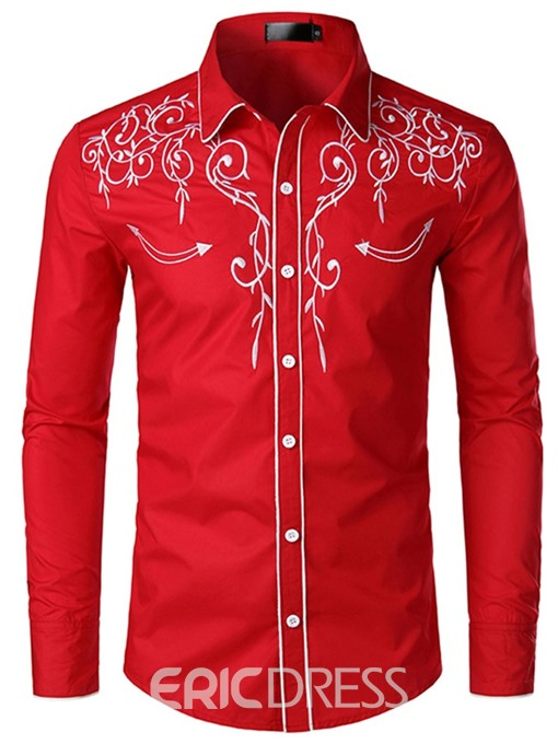 Ericdress Dashiki Mens Single-Breasted Slim Shirt