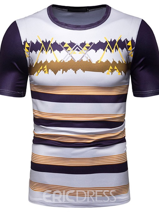 Ericdress Casual Print Stripe Wrapped Mens T-shirt