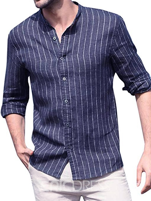 Ericdress Button Stand Collar Casual Loose Mens Single-Breasted Shirt
