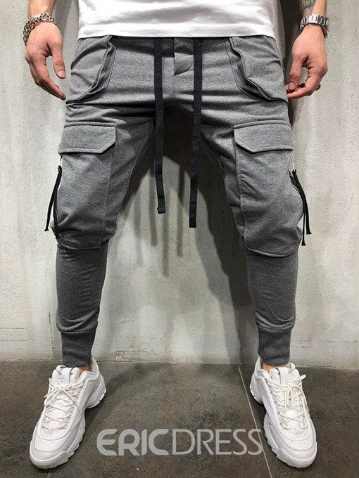 Ericdress Overall Plain Zipper Lace-Up Mens Casual Pants