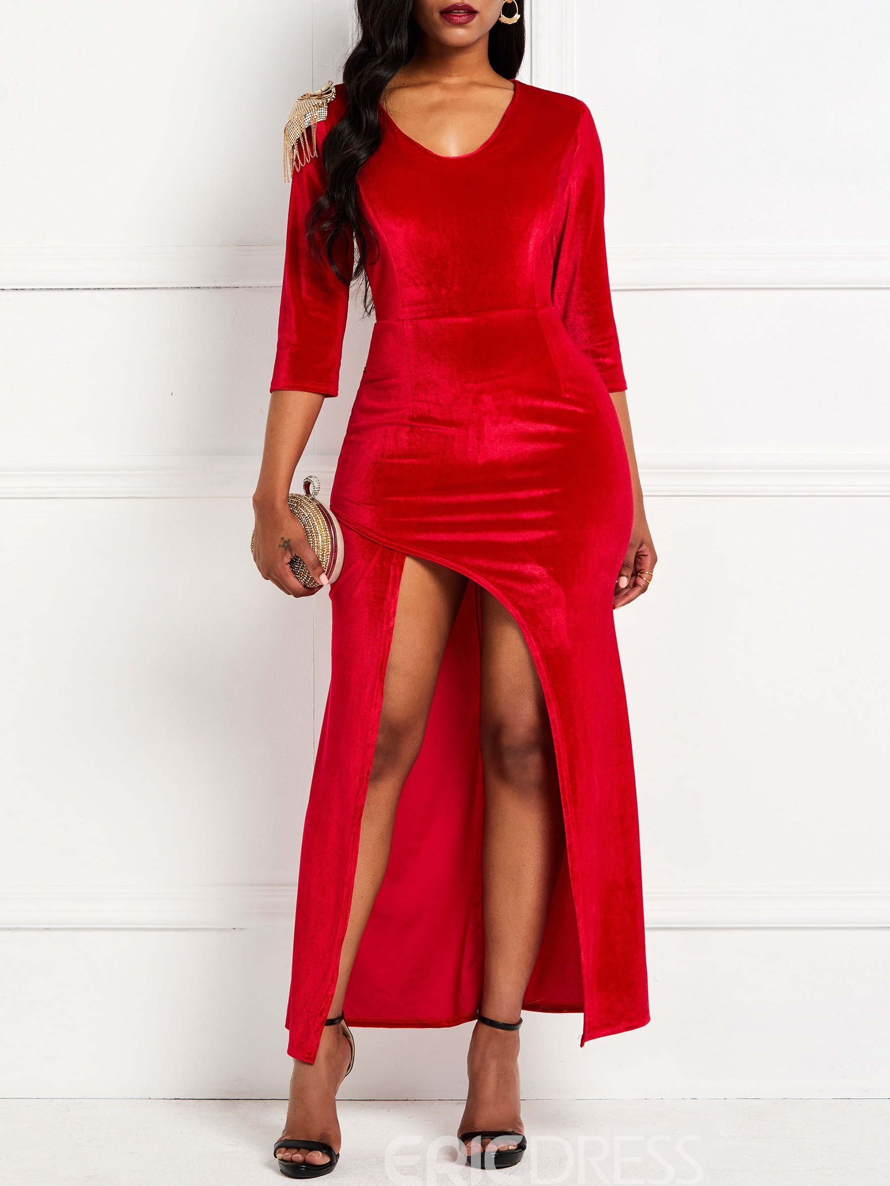 Ericdress Plain Floor-Length Bodycon Split Dress