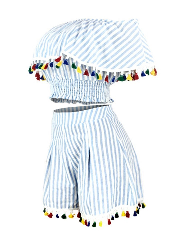 Ericdress Tassel Stripe Off Shooulder Wide Legs T-Shirt And Shorts Two Piece Sets