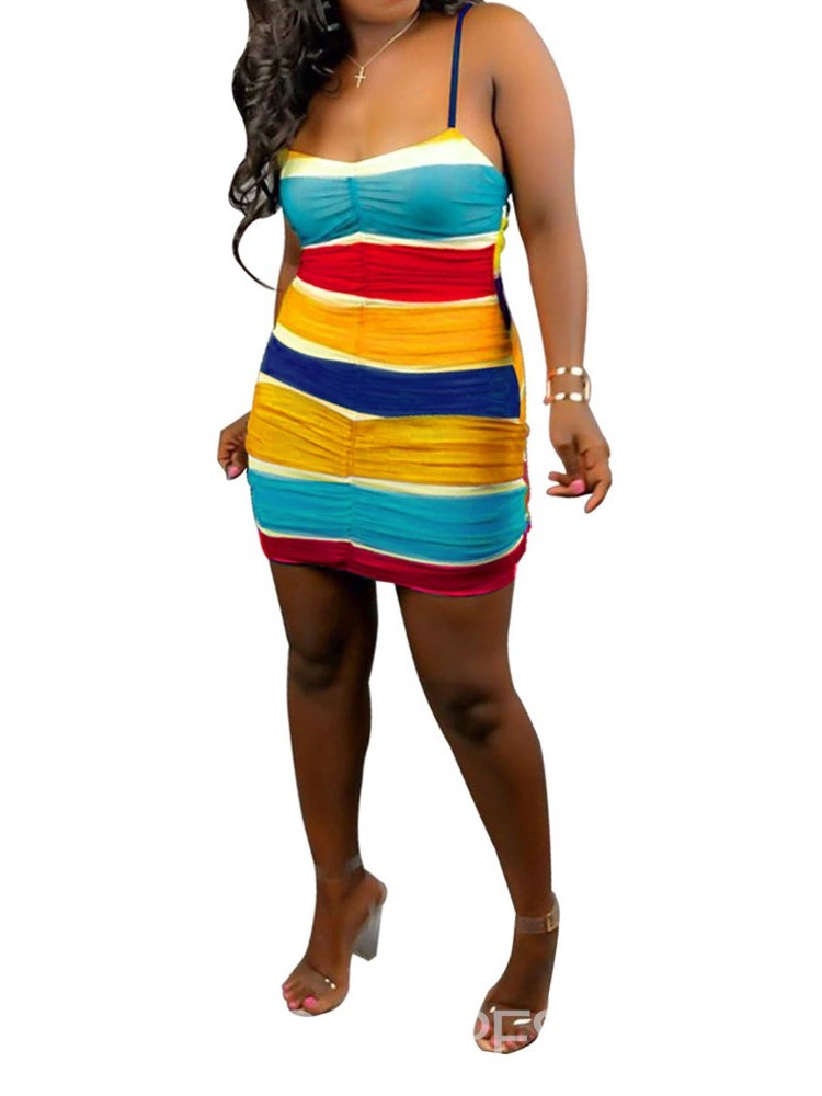 Ericdress Above Knee Sleeveless Patchwork Color Block Bodycon Dress