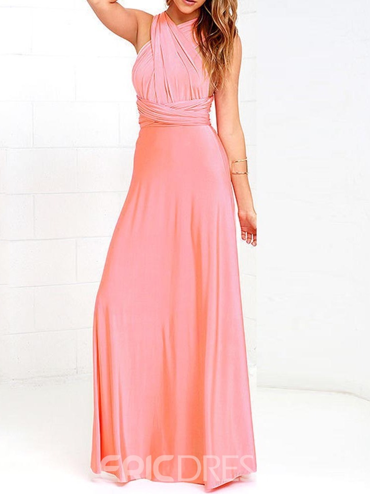 Ericdress V-Neck Floor-Length Lace-Up Cocktail Mid Waist Sexy Dress