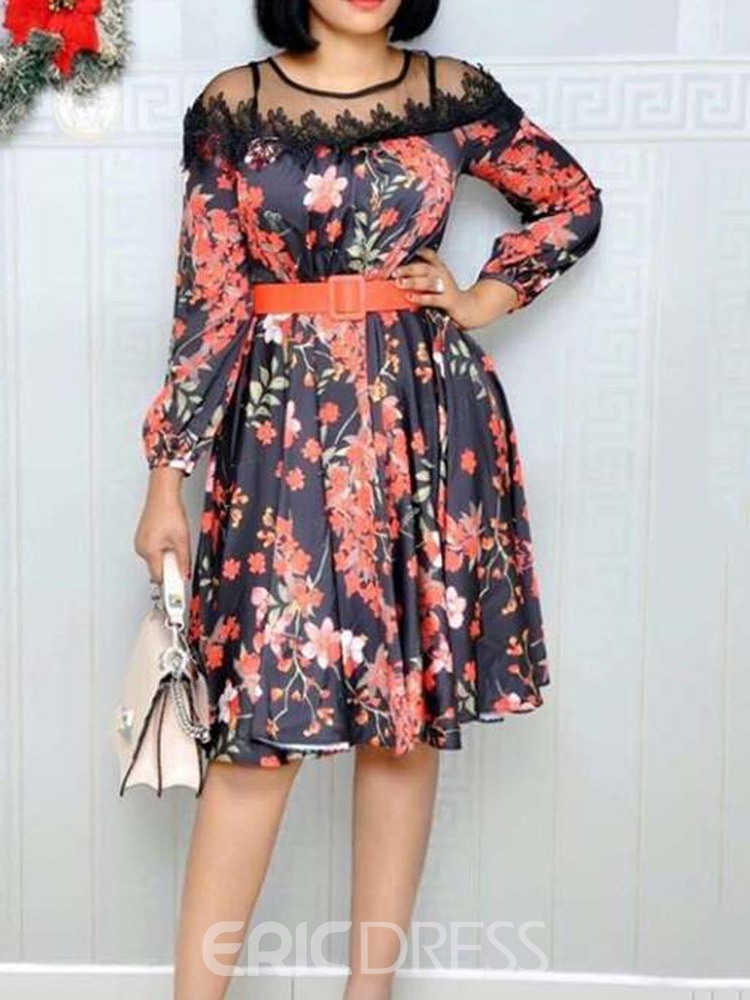Ericdress See-Through A-Line Floral Sweet Pullover Dress