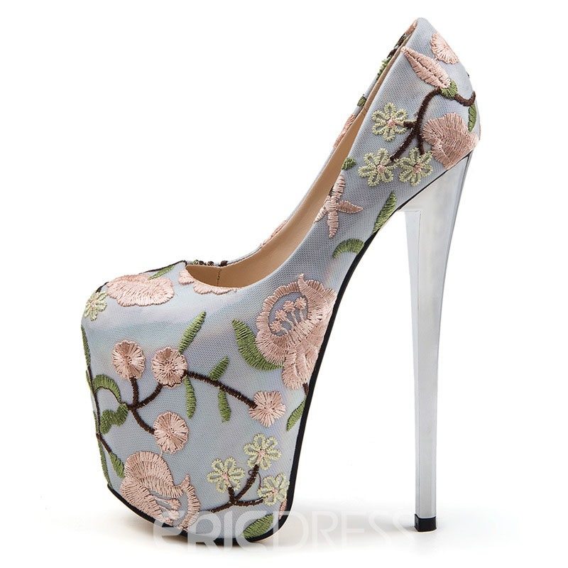 Ericdress Embroidery Round Toe Stiletto Heel Women's Prom Shoes