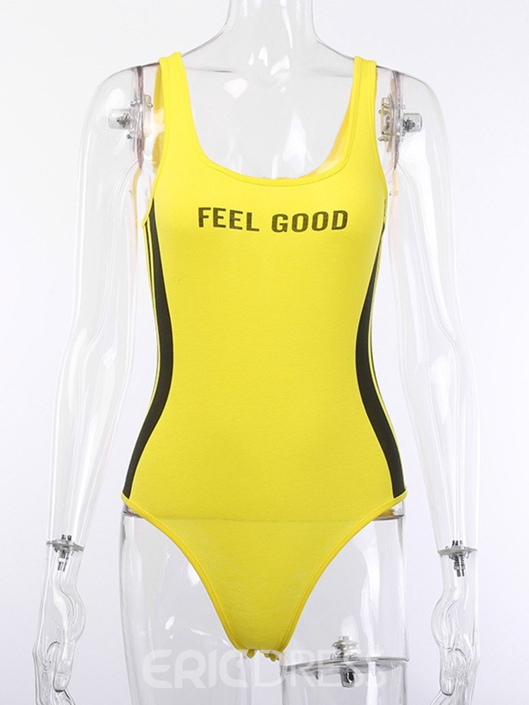 Ericdress One Piece Color Block Letter Swimsuit