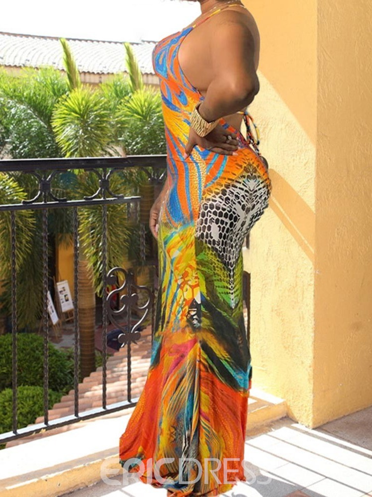 Ericdress Lace-Up V-Neck Sleeveless Backless African Fashion Dress