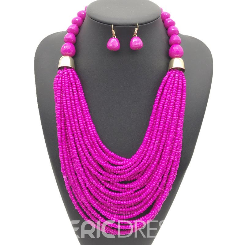 Ericdress Colour Beads Nigeria Style Jewelry Set