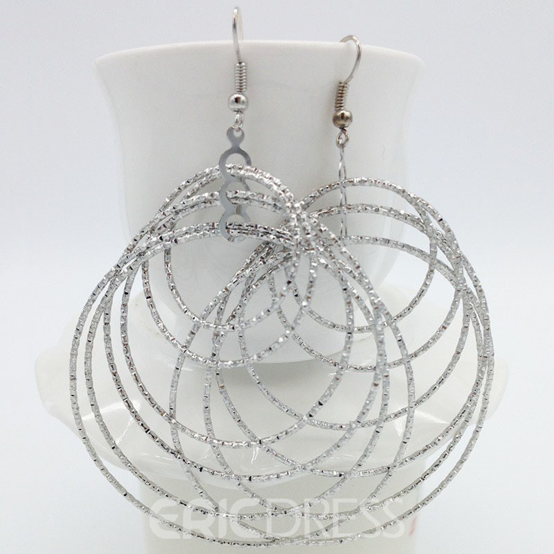 Ericdress Silver Hoop Women Earrings